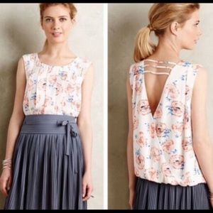 Meadow Rue Open Back Pleated Petals Floral Blouse